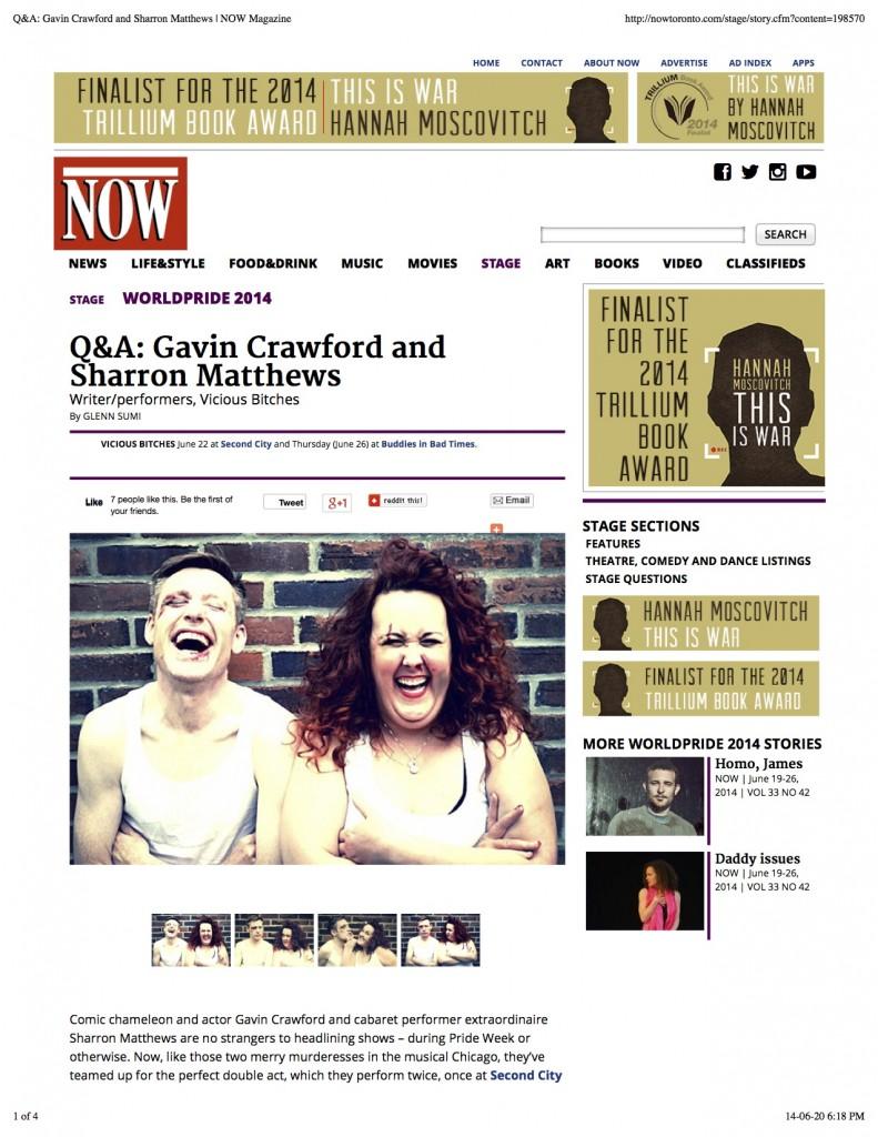 JPEG 1 NOW Q&A: Gavin Crawford and Sharron Matthews | NOW Magazine