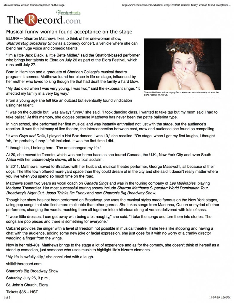 PNG ELORA Article 2014 Musical funny woman found acceptance on the stage