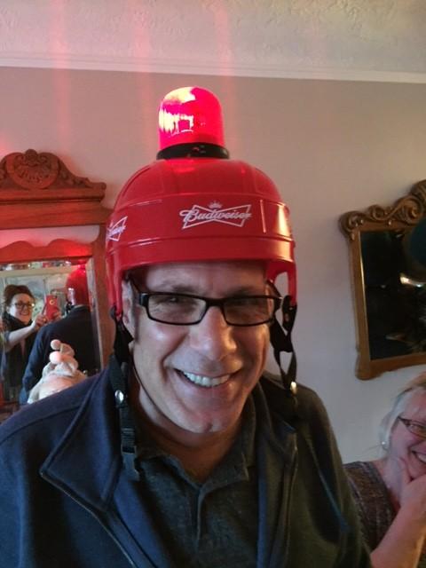 Chuck in Hockey Helmet